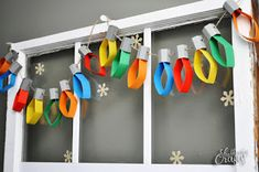 Christmas DIY Crafts for kids - Christmas crafts for kids! Christmas Lights Garland, Light Garland, Christmas Ornaments, Holiday Lights, Xmas Lights, Christmas Decorations With Paper, Christmas Displays, Christmas Mantles, Christmas Origami
