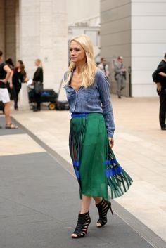 NYFW - love the denim shirt + amazing skirt