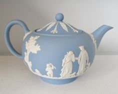 WEDGWOOD EMBOSSED QUEENSWARE BLUE MUSES COVERED TEAPOT
