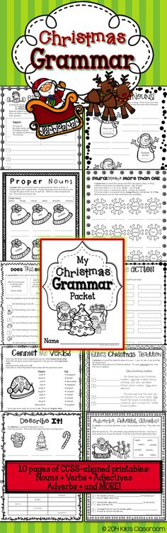 Christmas Grammar Pack~CCSS Aligned   Nouns • Verbs • Adjectives • Adverbs • Pronouns • and MORE, in a fun, seasonal pack!