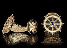 "Cufflinks ""Marina"" - Atelier Mousson - or jaune et noir, diamants et saphir."