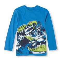 Long Sleeve Dino Mountain Graphic Tee