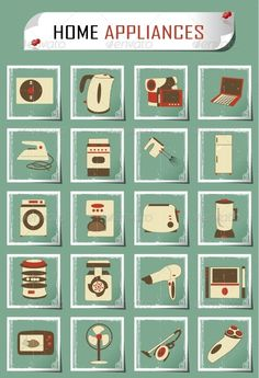 Vintage Household Appliances  #GraphicRiver         set of household appliances     Created: 23October13 GraphicsFilesIncluded: JPGImage #VectorEPS Layered: Yes MinimumAdobeCSVersion: CS6 Tags: acoustics #blender #brands #camera #cleaner #coffeemaker #computer #domestic #doubleboiler #hairdryer #home #household #icons #iron #kitchen #laptop #meatgrinder #microwave #mixer #movietheater #mp3player #razor #refrigerator #symbol #teapot #toaster #tv #vacuum #videocamera #washingmachine