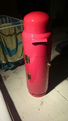 Repurposed LPG gas bottle as a British postbox inspired mailbox for the driveway - mum's birthday present