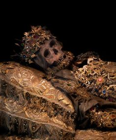 'Taken from the catacombs of Rome in the 17th century, the relics of twelve martyred saints were then attired in the regalia of the period before being interred in a remote church on the German/Czech border.'
