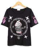 Black Short Sleeve Skull Cat Ice Cream Print T-Shirt $9.99