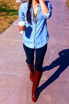 Fall Navy Legging Long Boots With Stylish Shirt