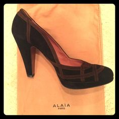 Mint Condition Vintage Alaia Pumps! Mint Condition Black and Brown Suede Alaia Pumps. 4.5 Inch Heel. Size 39. Worn Once! Both Original Alaia Shoe Bags Included. Alaia Shoes Heels
