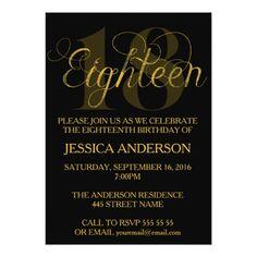 Elegant Gold Eighteen 18 Birthday Invitation
