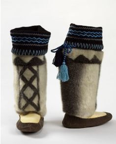 Inuit made men's sealskin boots http://www.canadiandesignresource.ca/officialgallery/fashion/mens-seal-skin-boots/