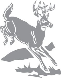 Glass etching stencil of Deer Jumping over Log. In category: North American Mammals