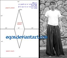 "Pattern: Largest Salwar by ~eqos on deviantART   Rotate the gusset 90"" from how it's drawn, and connect the large angle with where the small angle was cut out (at the crotch). The small angles connect to the pants at the ankle. Each side of the diamond goes down the legs."