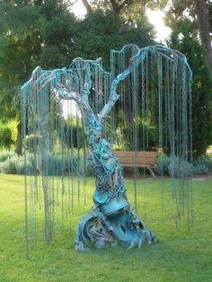 Metal tree sculpture.