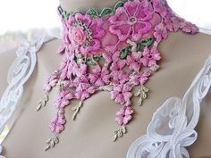 Victorian Lace Choker, Hand Dyed Lace Art Deco Choker, Pink and Green Lace Flower Bib Necklace,