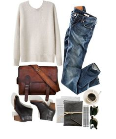 Black ankle boots, white knit sweater, denim, sunglasses, and leather satchel. Plus coffee.