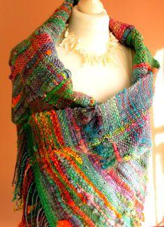 Handwoven Saori Wrap Shawl,Saori Large Wool Wrap,Poncho,Woven Art Yarn Wrap…