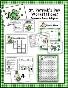 Math Coach's Corner: St. Patrick's Day Workstations.  Activities:  1. Four in O'Row: fact families/number bonds combinations for 10  2. O'Hundred Chart Fun: hundred chart puzzles; includes themed O'Hundred Twenty chart  3. O'Tens and Ones: building 2-digit numbers with base ten blocks  3. Shamrock Shake and Spill: composing and decomposing a target number