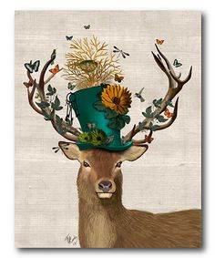 Look what I found on #zulily! Mad Hatter Deer Canvas Wall Art #zulilyfinds