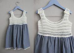 Vintage Gingham Girls Dress / Blue and White Crochet Dress /