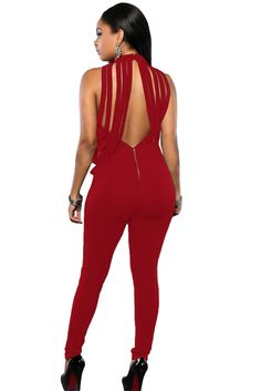 Date Red Empire Draped Fringe Jumpsuit