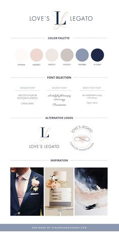 Stylish blush and Navy Branding, Logo, and Website Design for Loves Legato, a course designed to help keep newlyweds madly in love. Gorgeously balanced branding between masculine and feminine, by Girlboss Designer. Web Design, Carta Logo, Site Art, Brand Board, Graphic Design Inspiration, Brand Inspiration, Colour Schemes, Fashion Branding, Branding Design