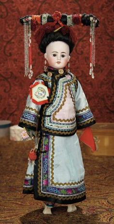 """French Bisque Doll, Original Costume, Stacked Heels, and Traditional """"Liangbatou"""" Coiffe 1300/1700 