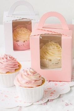 Instead of a birthday cake, serve your guest's individual cupcakes in boxes. See more party ideas and share yours at CatchMyParty.com #catchmyparty #partyideas