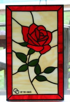 Custom Made Little Rose - Stained Glass Panel #StainedGlassVitrales
