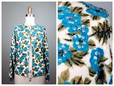 60s Floral Beaded Sequined Cardigan // Turquoise Blue Iridescent Sequin Light Sweater from Macy's 38 by braxae on Etsy