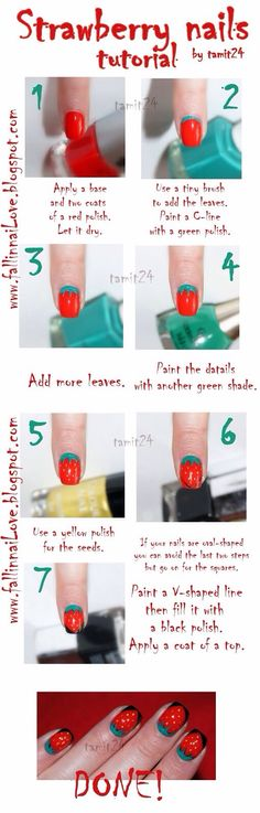 summer strawberry fruit nails tutorial