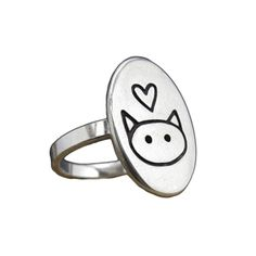 Sweet and simple love cat ring!