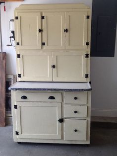 Art Deco Oak Hoosier Cabinet Original Green Cream | Hoosier ...