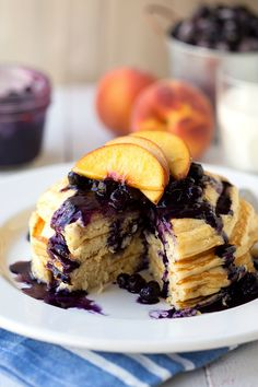 Healthy Greek Yogurt Pancakes with a Blueberry-Peach Syrup