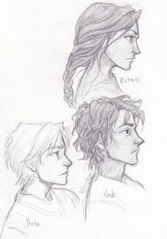 Katniss, Peeta and Gale. By B Vaughn (burdge-bug) http://burdge.tumblr.com/post/17136229262/started-drawing-peeta-and-got-carried-away