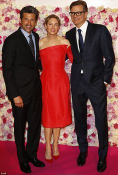 Terrific trio: The A-list stars put on a united front as they posed on the special pink carpet