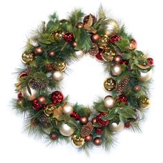 Deep red and Gold Holiday Wreath, Pine with Magnolia Leaves - Harding Botanicals