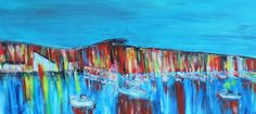 PAUL WESTAWAY, Quiet Night in the Harbour, Newlyn, WEST CORNWALL, ACRYLIC Painting ON IRREGULAR BOARD Size C via Art From Cornwall. Click on the image to see more!