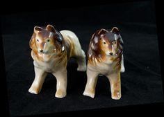 Pair of Collie Figurine Dog Figurine Mid by MorningGloryModerne