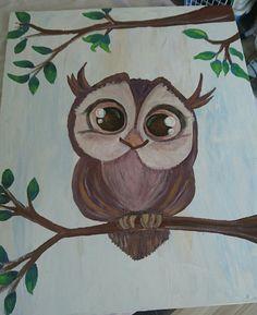 Fandt en sød tegnet ugle på nettet og malede den på lærred. Ugle maleri. Owl painting.
