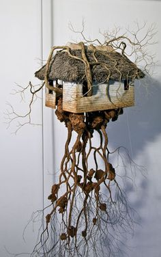 """Art: Tiny abandoned house """"sculpture"""" by Jorge Mayet, Lecho de mis raices Ceramic Houses, Paperclay, Driftwood Art, Assemblage Art, Miniature Houses, Fairy Houses, Land Art, Art Plastique, Little Houses"""