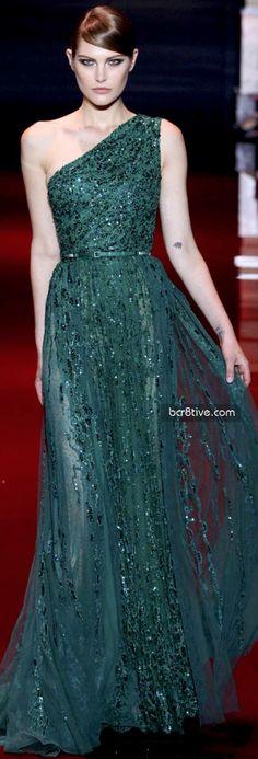 Elie Saab Green one shoulder dress