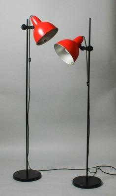 Pair of Vintage Orange Floor Spot Lamps by ThePapers on Etsy, $165.00