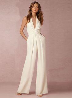 White Halter Sleeveless Jumpsuit OASAP.com