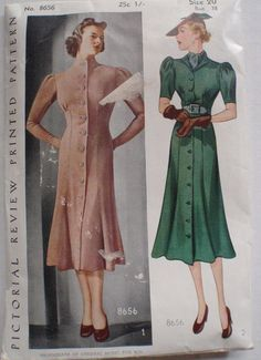 Vintage 30's Women's Sewing Pattern  Button Front by Shelleyville, $30.00