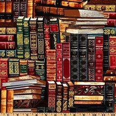 Timeless Treasures Packed Books Multi Fabric By The Yard