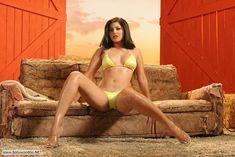 Sunny Lone Lokking Hot And Sexy In Yellow Bikini.