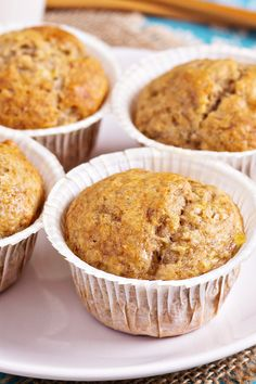 Banana Muffins | KitchMe. I added vanilla, cinnamon, and chopped walnuts! Easy recipe!