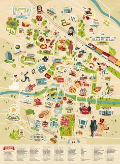 Illustrated map of Ashgabat, Turkmenistan. http://www.theydrawandtravel.com/artists/alexandra-erkaeva