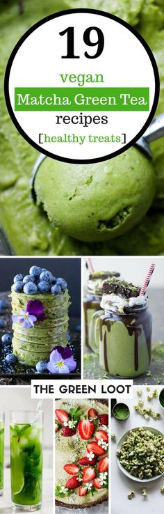 Vegan matcha green tea recipes that are super healthy and tasty. Make an easy latte, smoothie, dessert or breakfast for detox and weight loss. The incredible benefits of matcha will amaze you! | The Green Loot #vegan #matcha