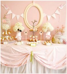 pink and birds baby shower. would love to do this with lavendar